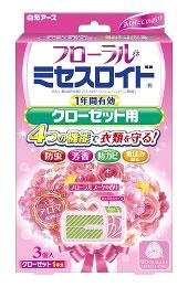 白元アース フローラル ミセスロイド クローゼット用 1年間有効 フローラルブーケの香り (3個入) 防虫剤 ツルハドラッグ