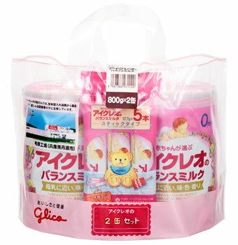 グリコ アイクレオ アイクレオのバランスミルク 0ヶ月から (800g×2缶セット) スティックタイプ5本付き 粉ミルク ツルハドラッグ