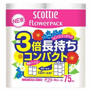 日本製紙 クレシア スコッティ フラワーパック 3倍長持ち ダブル (4ロール) トイレットペーパー ツルハドラッグ