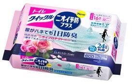 【特売】 花王 トイレクイックル ニオイ予防プラス エレガントローズの香り つめかえ用 (16枚入) 詰め替え用 トイレ用そうじシート