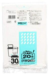日本サニパック U39T おトクな 30L 白半透明 (20枚入) オトクナ ペール用 ゴミ袋