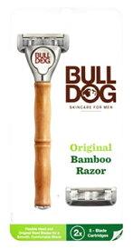 シック ブルドッグ オリジナルバンブーホルダー (本体+替刃2個付) Bulldog カミソリ 髭剃り 首振り式5枚刃