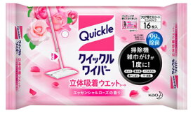 【特売】 花王 クイックルワイパー 立体吸着ウエットシート エッセンシャルローズの香り (16枚入)
