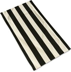 普通判長座布団カバー モノストライプ ブラック&アイボリー 約60×110cm 日本製 北欧系 モノトーン調 白黒系 肌に優しい綿100% 長座ぶとん 長ざぶとん