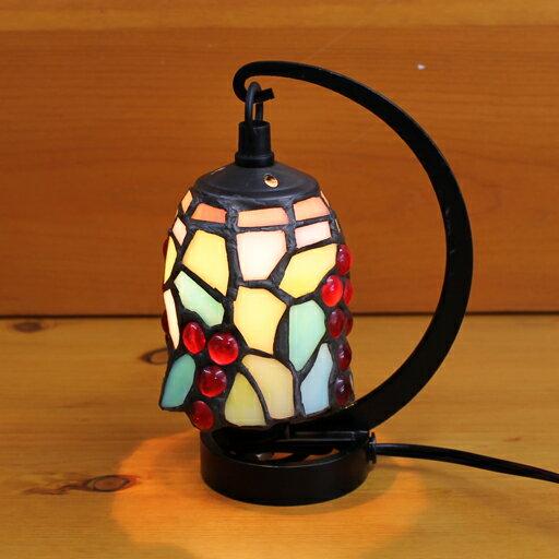 ステンドグラスランプ 小型吊り型1アーム ボルドー(葡萄柄)12×h16.5 【照明・スタンド】sc001