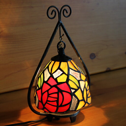 ステンドグラスランプ 小型吊り型2アーム 2色のバラ(ミリアーナ)19×h24 【照明・スタンド】☆