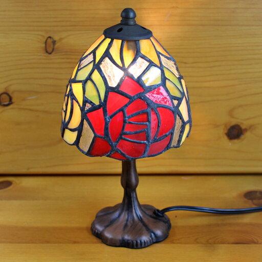 ステンドグラスランプ 2色のバラ(ミニチュアローズ)小型 12×h24 【照明・スタンド】☆