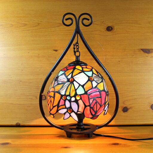 ステンドグラスランプ 吊り型2アーム 優雅な薔薇(マドーナ) 23×h35.5 【照明・スタンド】st-ep043+td-007b