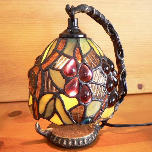 ステンドグラスランプ吊り型1アーム 大粒の葡萄15.5×h19 【照明・スタンド】