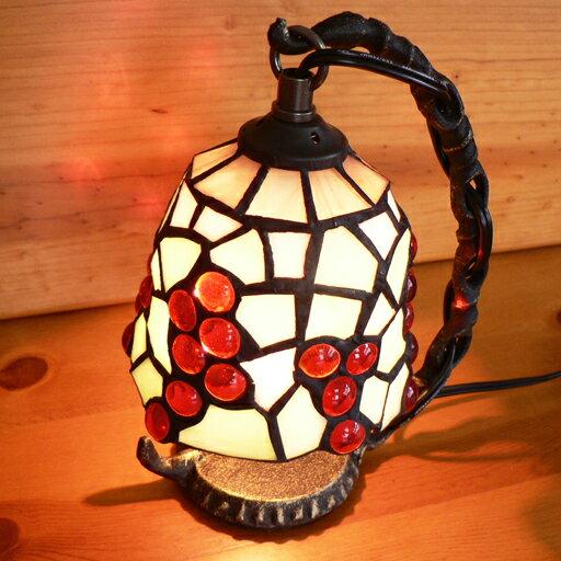ステンドグラスランプ 吊り型1アーム 葡萄(ぶどう) 14×h19 【照明・スタンド】☆