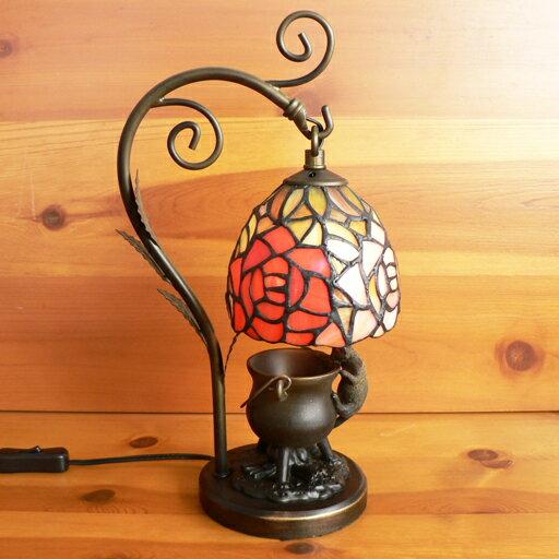 ステンドグラスランプ吊り型1アーム 2色のバラ(レガッタ) こねこ(=^・^=)オブジェ付き 中型 20×h35 【照明・スタンド】☆☆