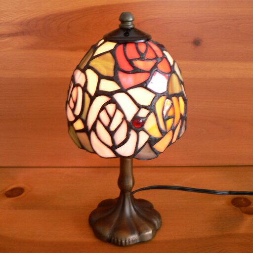 ステンドグラスランプ 4色の薔薇の花(オールドローズ)小型 12×h24 【照明・スタンド】☆