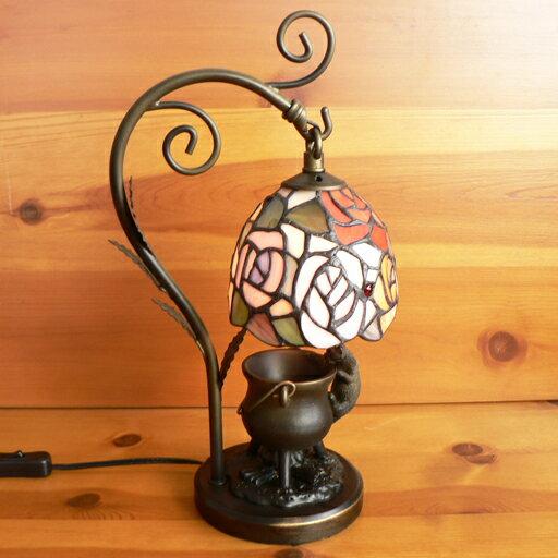 ステンドグラスランプ吊り型1アーム 4色の薔薇の花(ソニア) こねこ(=^・^=)オブジェ付き 中型 20×h35 【照明・スタンド】☆☆