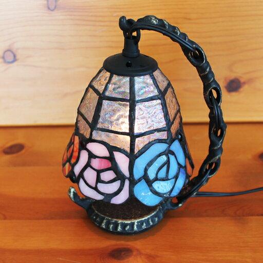 ステンドグラスランプ吊り型1アーム 3色のバラ(アルケミスト)15.5×h19 【照明・スタンド】