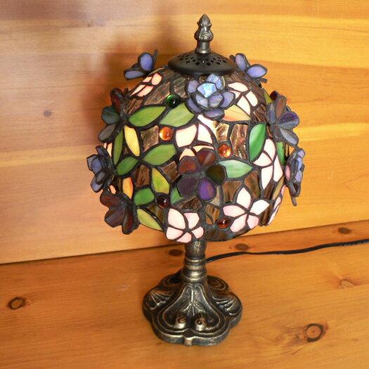 ステンドグラスランプ 立体の小花(ロマンス) 小型 22×h33 【照明・スタンド】st-4406a+st-b012