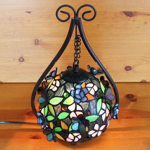 ステンドグラスランプ吊り型2アーム 立体の小花22×h35.5  【照明・スタンド】