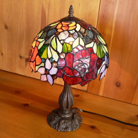 【送料無料】ステンドグラスランプ 優雅な薔薇 (キャンディーローズ) 中型 26×h45 【照明・スタンド】☆