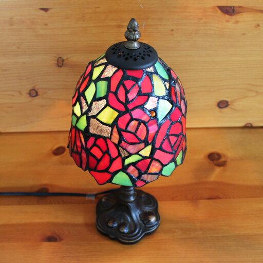 ステンドグラスランプ 赤い薔薇の花 小型(レッドクイーン) 16×h34 【照明・スタンド】st-ep038+st-b012