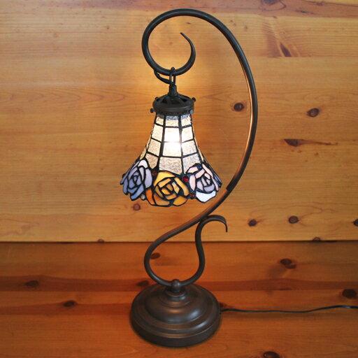 ステンドランプ 吊り型1アーム3色のバラ(ムーンローズ)ステンドグラスランプ 22×h57 【照明・スタンド】