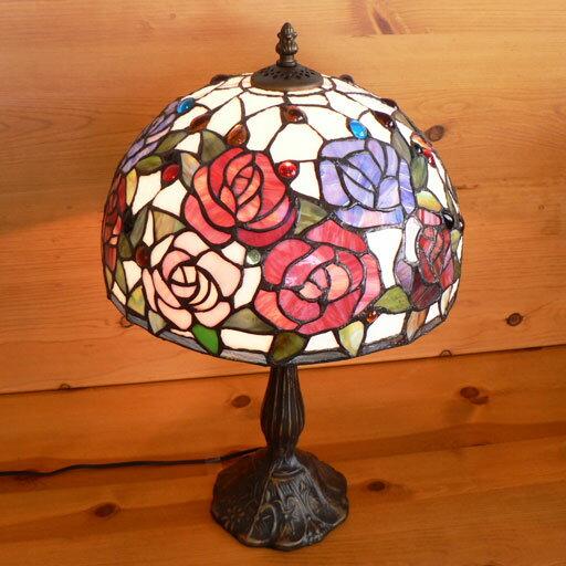 【送料無料】ステンドグラスランプ 薔薇の花 (ハーモニィ) 大型 32×h51 【照明・スタンド】◆◆☆