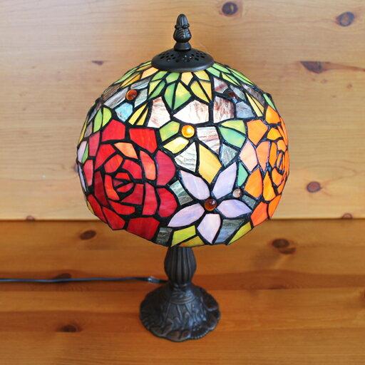 ステンドグラスランプ優雅な薔薇(クレアローズ) 中型 22×h37 【照明・スタンド】