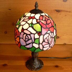 ステンドグラスランプ 淡い色の薔薇の花 (アルティシモ) 中型 21×h35.5 【ローズ/照明・スタンド】
