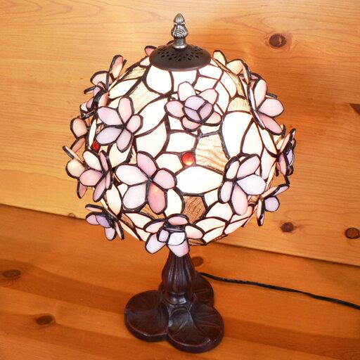 【送料無料】ステンドグラスランプピンクの立体の小花中型 25×h45 【照明・スタンド】☆☆