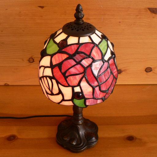 ステンドグラスランプ 薔薇の花 (グレイス) 小型 15×h32 【照明・スタンド】st-ep84+st-b012
