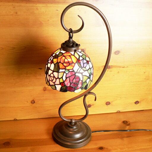 ステンドランプ 吊り型1アーム色とりどりのバラ(ティノローズ)ステンドグラスランプ 23×h57 【照明・スタンド】