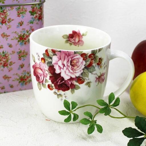 【単品3個から送料無料】【一緒に買って送料無料】薔薇のTin缶に入った ほっこり丸いマグカップ(薔薇とワイルドストロベリー)【ロイヤルアーデン】