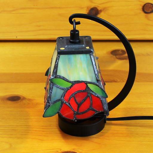 ステンドグラスランプ 小型吊り型1アーム エデンローズプチ ×h16.5 【照明・スタンド】