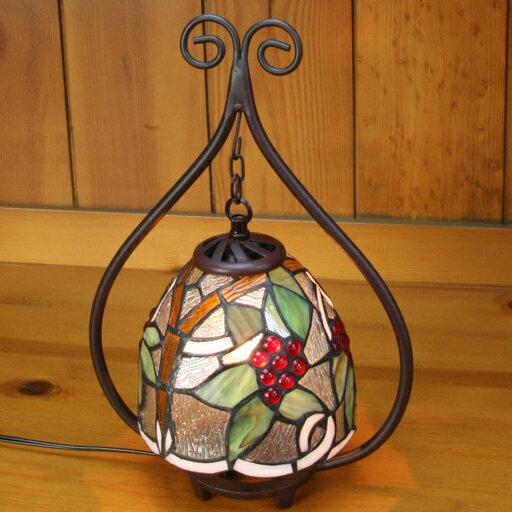 ステンドグラスランプ吊り型2アーム 葡萄(ぶどう) 23×h35 【照明・スタンド】st-ep662+td-007b