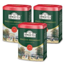 富永貿易 AHMAD TEA イングリッシュブレックファースト リーフティー200g × 3個 缶