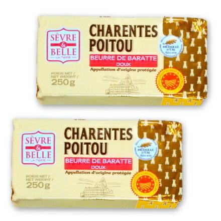 《送料無料》 グラスフェッドバター セーブル(Sevre) 自然発酵 無塩 250g × 2個 フランス ポワトゥーシャラン産 AOP取得 無添加 【冷蔵手数料無料 バターコーヒーに】《あす楽》