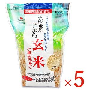 《送料無料》大潟村あきたこまち生産者協会 あきたこまち玄米 無洗米 栄養機能食品(鉄分)2kg × 5袋 ケース販売