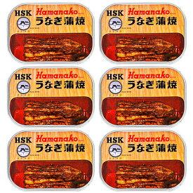 《送料無料》浜名湖食品 うなぎ蒲焼缶詰 100g × 6缶《あす楽》