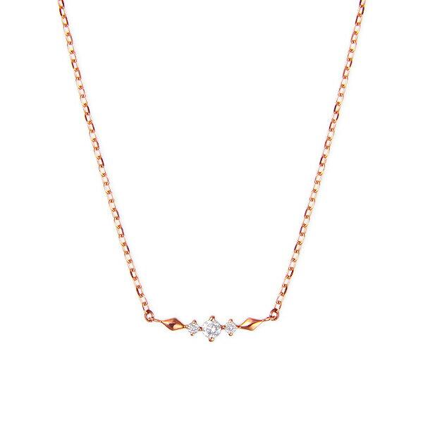 ポイント10倍 〜6/21(木)1:59までK10ピンクゴールドダイヤモンドネックレス ダイヤモンド ネックレス 【happy cherish jewelry】