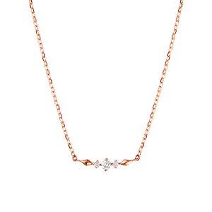 K10ピンクゴールドダイヤモンドネックレス ダイヤモンド ネックレス 【happy cherish jewelry】