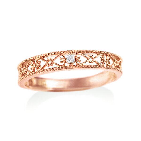 ピンクゴールドダイヤモンドリング ダイヤモンド リング【ピンキーリング】