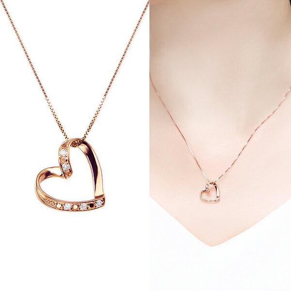 ピンクゴールドダイヤモンドネックレス ダイヤモンド ネックレス【ハートモチーフ】【楽ギフ_包装選択】