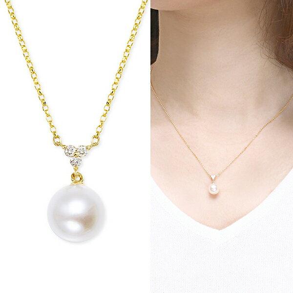 K18イエローゴールドアコヤ真珠ネックレス(7.5mm)