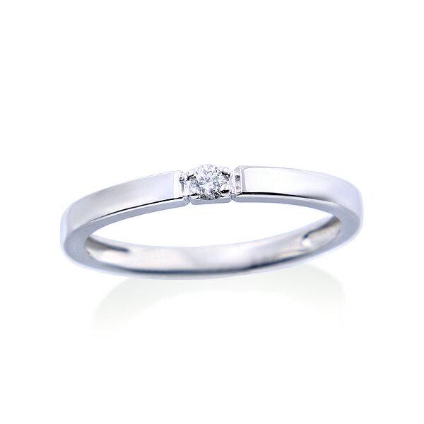K10ホワイトゴールドダイヤモンドリング(ピンキーリング)