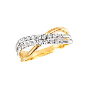 K18イエローゴールド/プラチナダイヤモンドリング