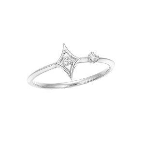 K18ホワイトゴールドダイヤモンドリング(ピンキーリング)