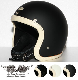 TT&CO. SUPER MAGNUM LEATHER RIM SHOT VINTAGE IVORY LEATHER 3/4 OPEN FACE MOTORCYCLE HELMET JAPANESE / DOT STANDARD