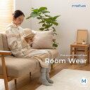 mofua プレミアムマイクロファイバー着る毛布 フード付 (ルームウェア) (M) 着丈110cm サークル柄 ネイビー