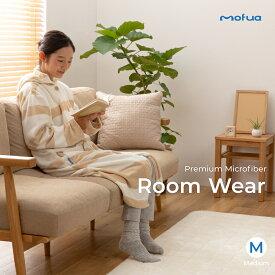 mofua プレミアムマイクロファイバー着る毛布 フード付 (ルームウェア) (M) 着丈110cm サークル柄 グレージュ