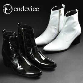 ブーツ メンズ ヒールブーツ サイドジップ ハイヒール ショートブーツ endevice エンデヴァイス エンデバイス ブラック 黒 ホワイト 白 エナメル ウエスタンブーツ ポインテッドトゥ カジュアルシューズ 紳士靴 おしゃれ アウトレット 在庫処分 2019 春 夏