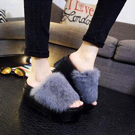 厚底 サンダル ファーサンダル サンダル レディース ラビットファー SVEC シュベック 夏用 夏の 涼しい つっかけ ブラック 黒 ホワイト 白 ネイビー グレー ライトグレー プラットフォーム カジュアルシューズ 女性の靴 韓国 可愛い かわいい おしゃれ 2019 夏 秋 冬