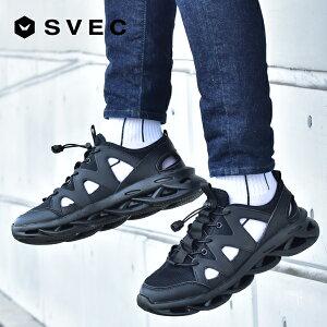 スニーカー メンズ 黒 おしゃれ ブランド SVEC シュベック 靴紐 結ばない スニーカーサンダル 厚底 厚底スニーカー グルカスニーカー 軽量 軽い 通気性 メッシュ 涼しい ローカット ローカッ